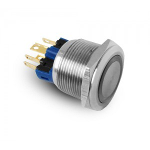 Pulsante 22mm in acciaio inossidabile IP65 LED 230V o 24V blu momentaneo