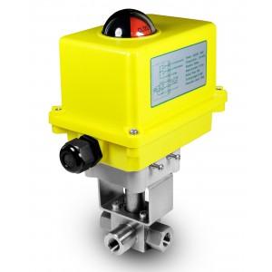 Valvola a sfera a 3 vie ad alta pressione da 3/8 pollici SS304 HB23 con attuatore elettrico A250