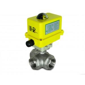 Valvola a sfera in acciaio inox a 3 vie DN25 con attuatore elettrico A250