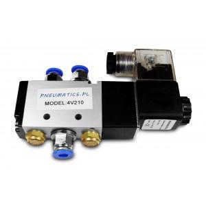 Elettrovalvola 5/2 4V210 1/4 pollici per cilindri pneumatici + connettori 8mm