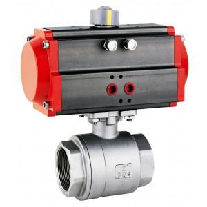 Valvola a sfera in acciaio inox DN32 da 1 1/4 pollici con attuatore pneumatico AT63