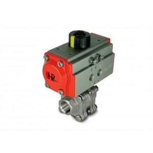 Valvola a sfera acciaio inox DN15 PN125 1/2 pollice con attuatore pneumatico AT40