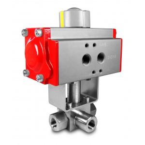 """Valvola a sfera 3 vie ad alta pressione 1/4 """"SS304 HB23 con attuatore pneumatico AT52"""