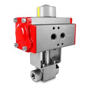 Valvola a sfera alta pressione 1/4 pollici SS304 HB22 con attuatore pneumatico AT40