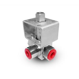 Valvola a sfera a 3 vie ad alta pressione 1/2 pollice SS304 HB23 piastra di montaggio ISO5211
