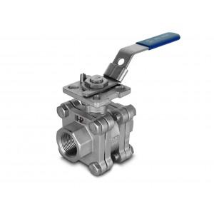 Valvola a sfera in acciaio inox DN15 PN125 Piastra di montaggio 1/2 pollice ISO5211